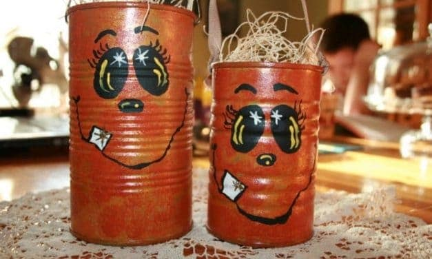 Recycled Tin Can Pumpkin