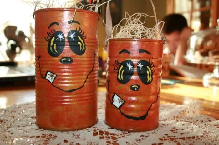 Upcycled tin can pumpkins, hand-painted, Halloween pail, upcycle