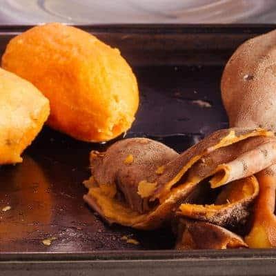 Easy peeling of cooked sweet potatoes
