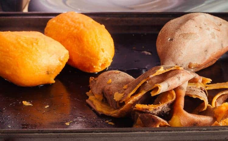 Easy peeling of cooked sweet potatoes