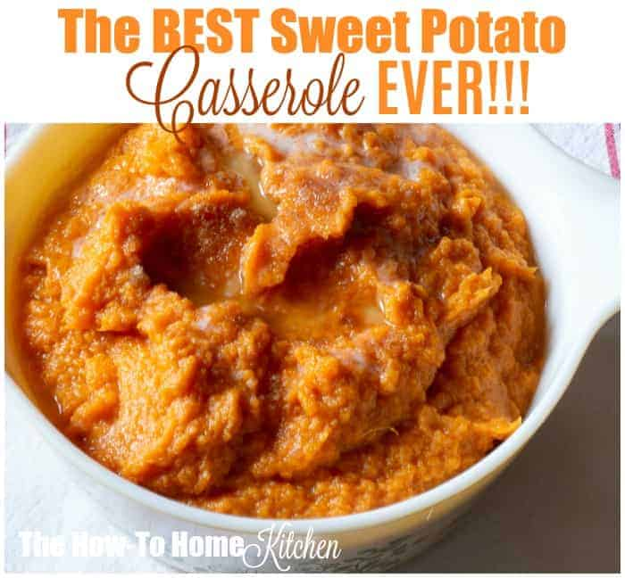 Sweet potato casserole in a vintage Pyrex casserole dish