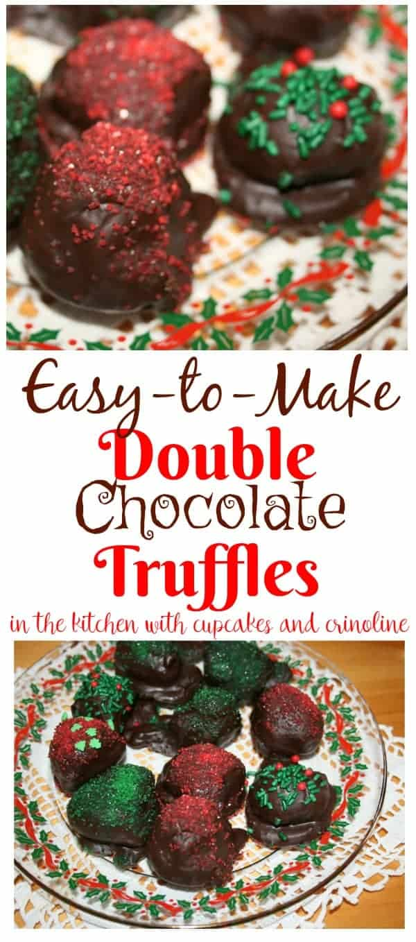 Easy to Make Double Chocolate Truffles - get the recipe at www.cupcakesandcrinoline.com