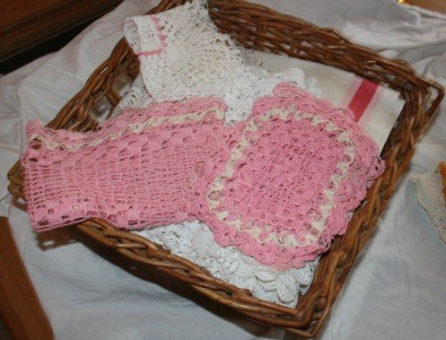 Basket for Craft Room-Pink Doiles