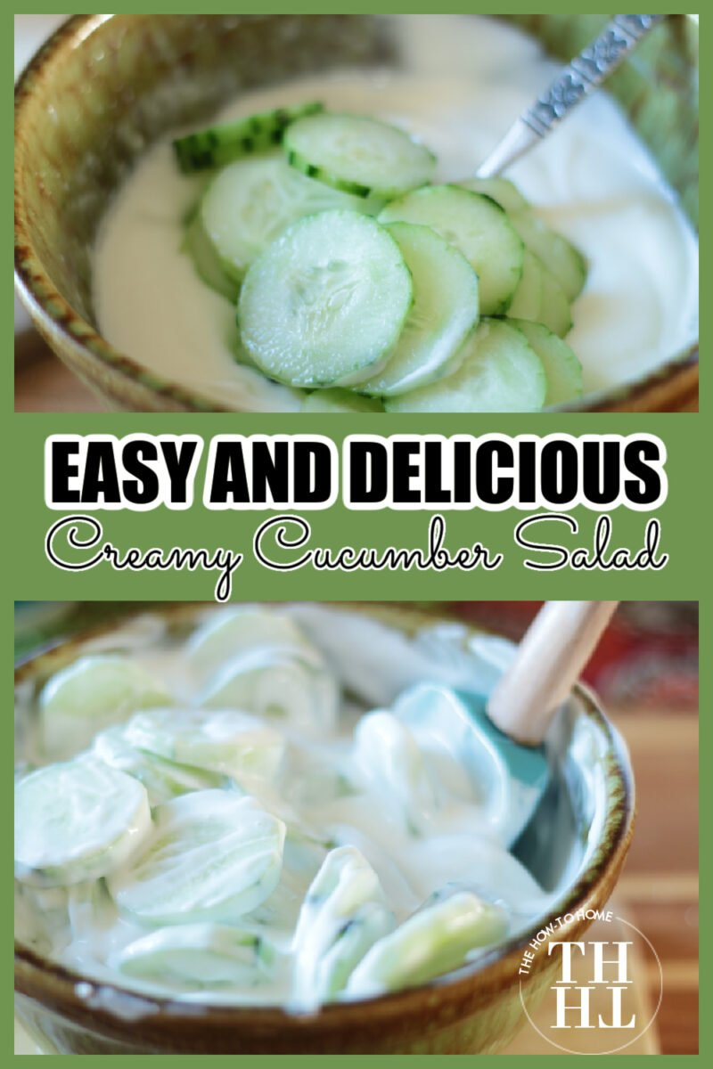 Collage with photos of a creamy cucumber salad recipe