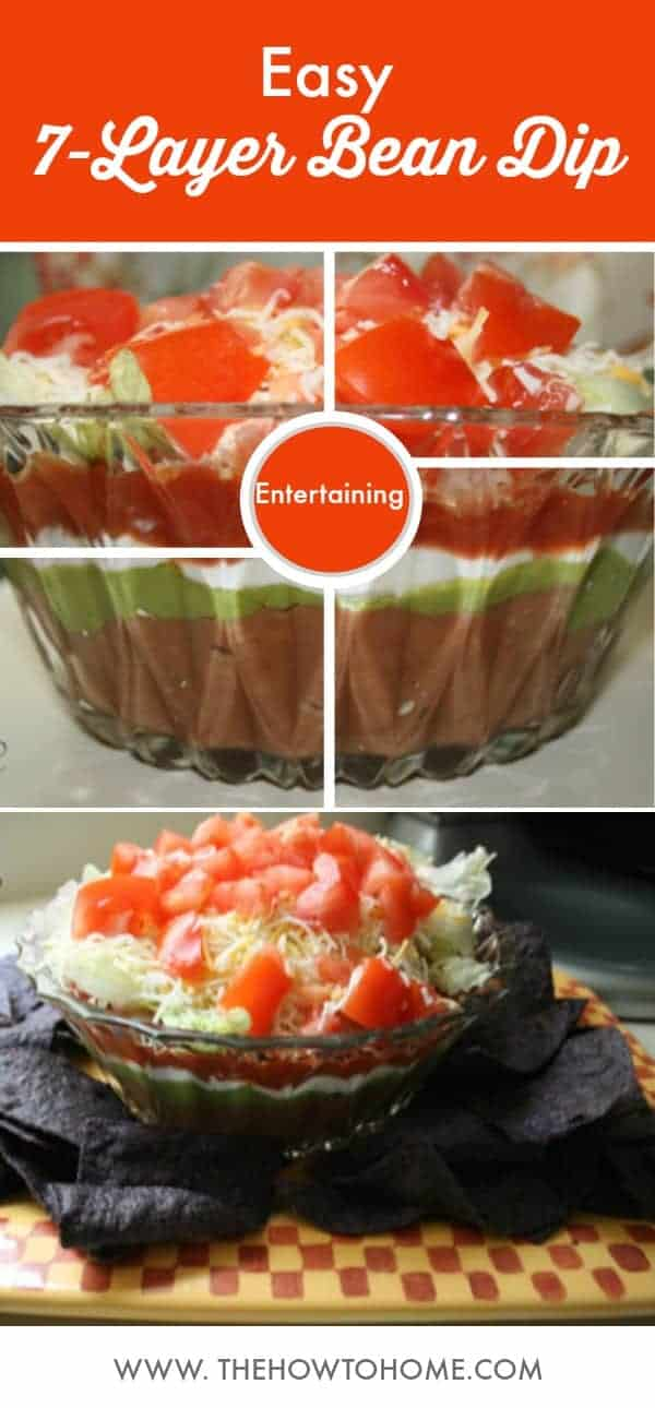 Pinterest sized graphic with two photos of 7-layer bean dip