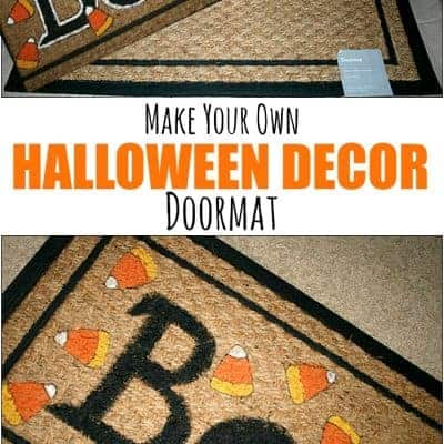 collage of a before and after of a Halloween Decor Doormat DIY