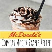 McDonald's Copycat Mocha Frappe Drink in a cup with whipped cream and drizzled with chocolate