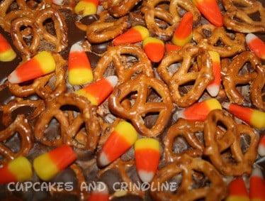 Candy Corn Bark with Pretzels