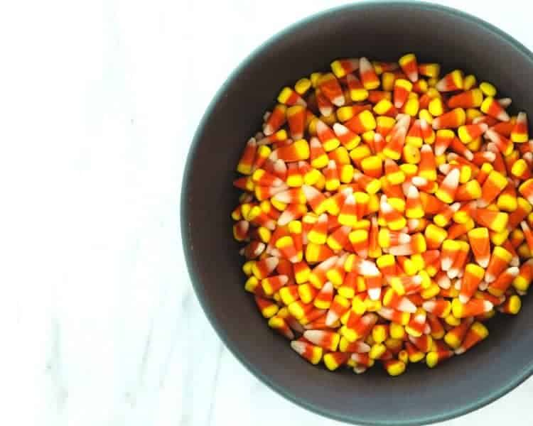 overhead view of a bowl of candy corn