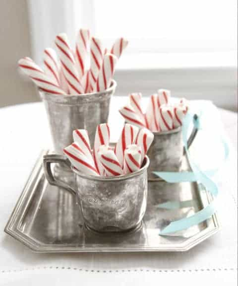 Christmas Decorating in Red and White - Peppermint Sticks in vintage silver cups