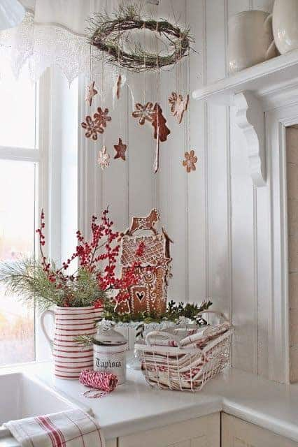 Christmas in Red and White - Gingerbread house, red and white striped kitchen towels