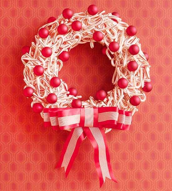 Christmas Decorating in Red and White - DIY Candy Cane Wreath from BHG