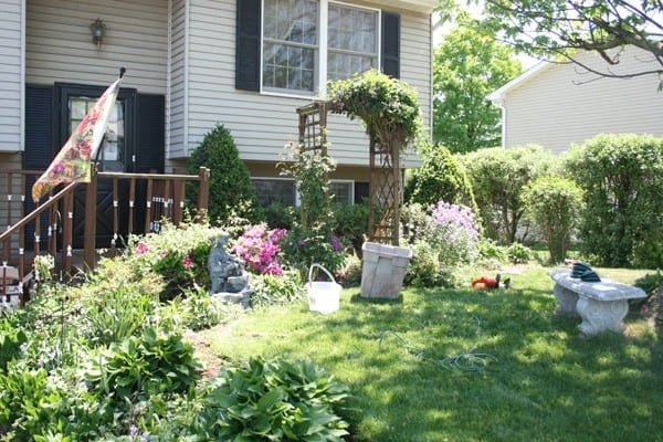 Front yard of a midsize suburban home that is in need of some yard work - this photo is before the simple and inexpensive DIY Curb appeal Makeover
