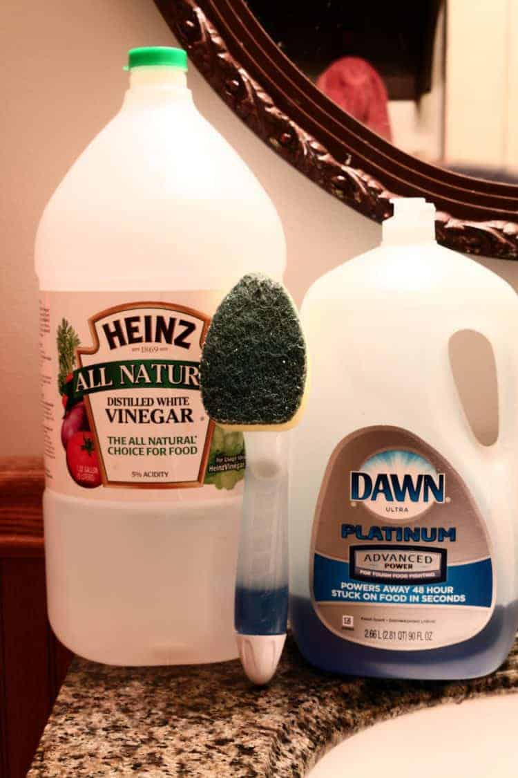 Large bottles of Heinz Cleaning Vinegar and Dawn Dishwashing Soap and a scrubbing wand