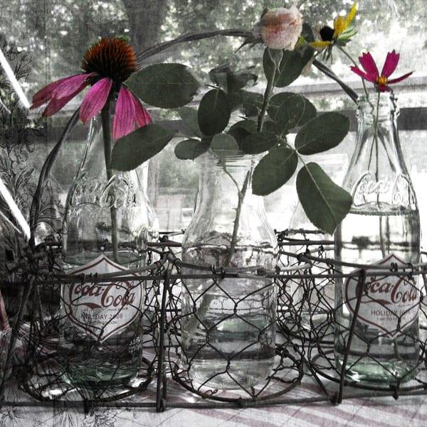 Vintage Bottle Holder, Pop Bottles  and Flowers