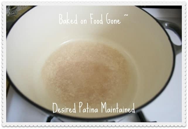 how to get burned food off enamel pot