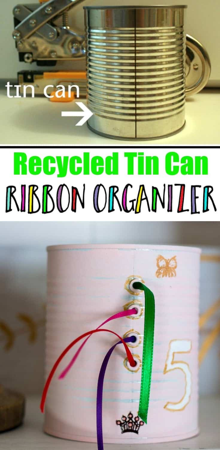 Collage of Upcycled tin can used to organize ribbon