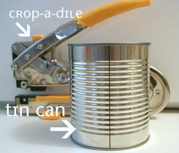tin can without label ready to be made into a tin can ribbon organizer