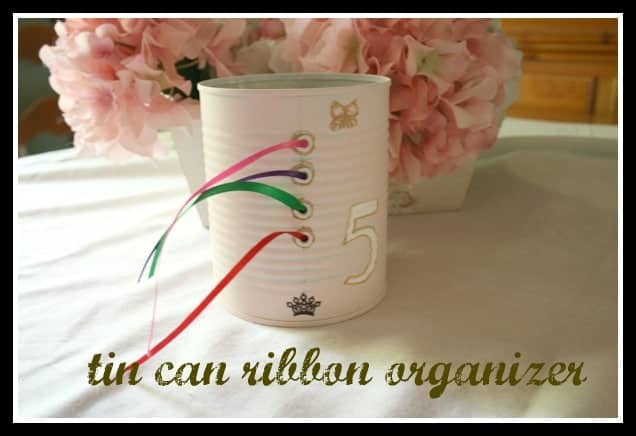 Tin Can Ribbon Organizer on Cupcakes and Crinoline