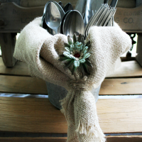 Burlap Silverware Caddy at Cupcakes and Crinoline