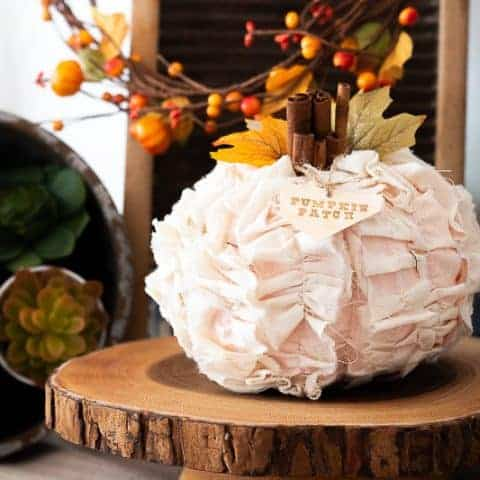 DIY Shabby Chic Fabric Pumpkin