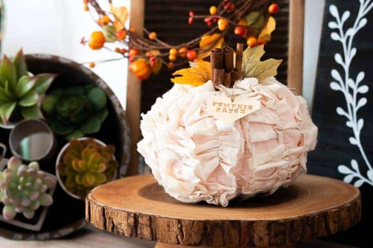 DIY Shabby Chic Fabric Pumpkin