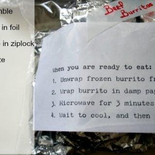 Directions for reheating make ahead freezer burritos