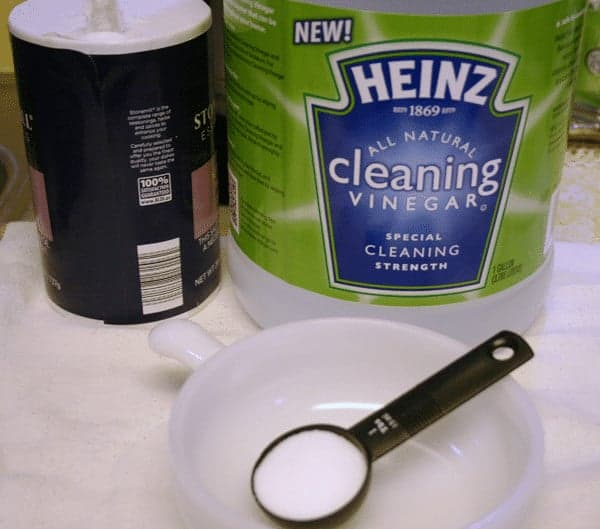 Get rid of lime deposits with cleaning vinegar and salt ||cupcakesandcrinoline.com