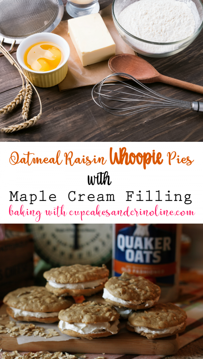 Oatmeal Raisin Cookies filled with Maple Cream Frosting - baking with cupcakesandcrinoline.com