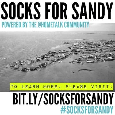 Socks for Sandy - a fundraiser to provide warm things to wear for Sandy survivors. Please donate what you can by Nov 9 2012! via Funky Junk Interiors