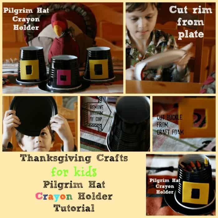Cute Thanksgiving Craft for Kids that they can make with help from you. Pilgrim Hat Crayon Holder - add these to the kid's table for some coloring fun.