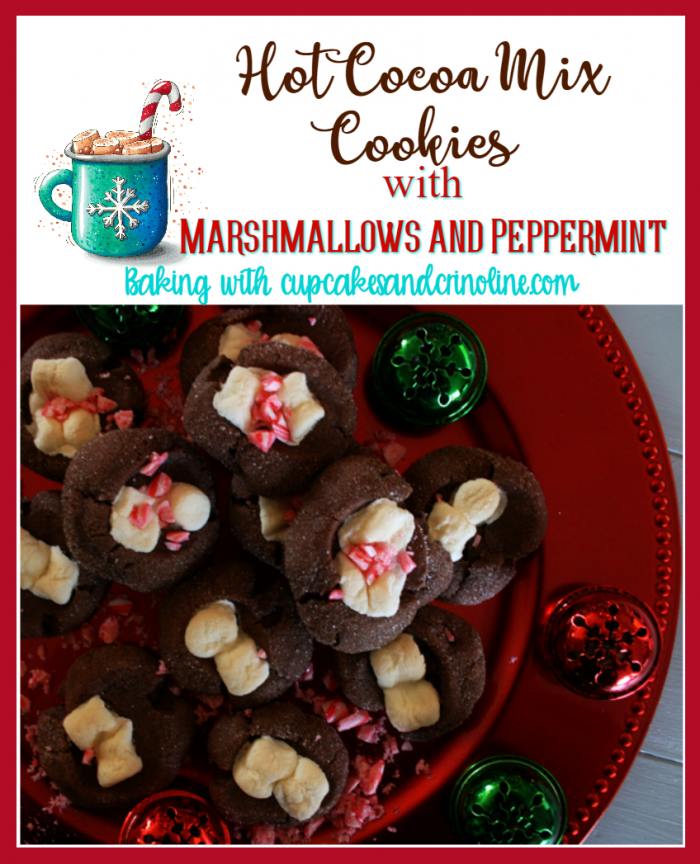 Hot Cocoa Mix Cookies with Marshmallows and Peppermint Toppings - Christmas Cookie Baking with www.cupcakesandcrinoline.com