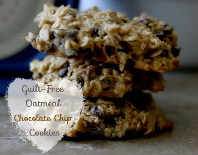Guilt-Free Oatmeal Chocolate Chip Cookies from cupcakesandcrinoline.com