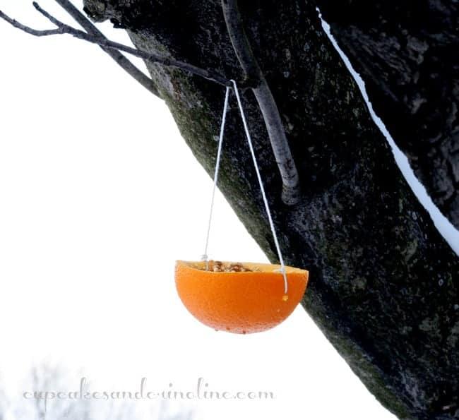Hanging orange homemade bird feeder
