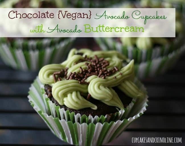 Chocolate Avocado {Vegan} Cupcakes with Avocado Buttercream Frosting