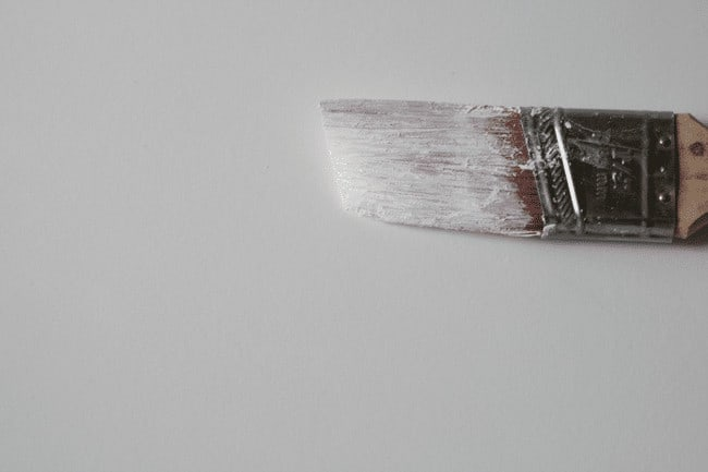 Close up of dry and crusted paintbrush