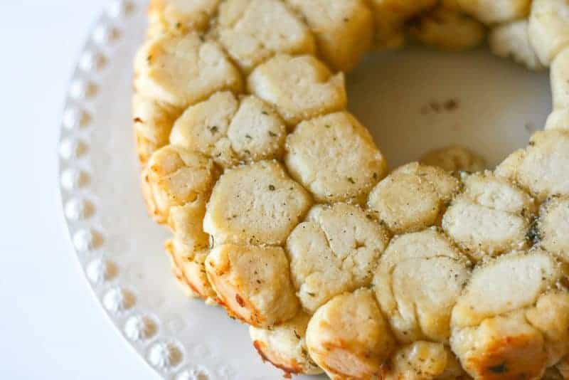 beautiful golden monkey bread on plate fresh from the oven