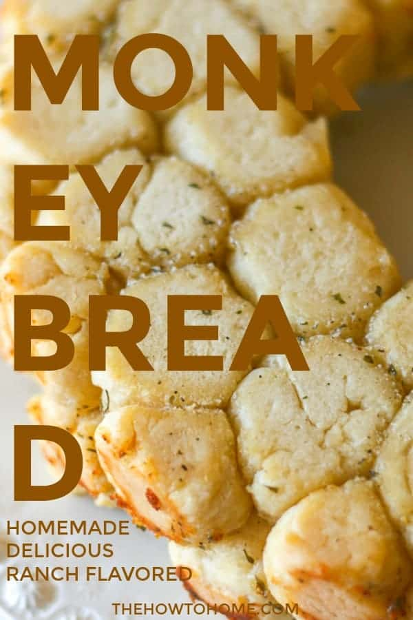 Pinterest graphic with an overhead view of a freshly baked monkey bread