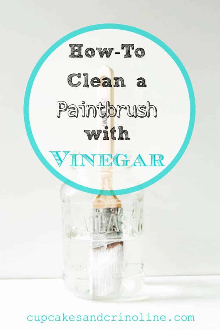 Crusted dry paintbrush in jar of vinegar - how to clean a paintbrush with vinegar