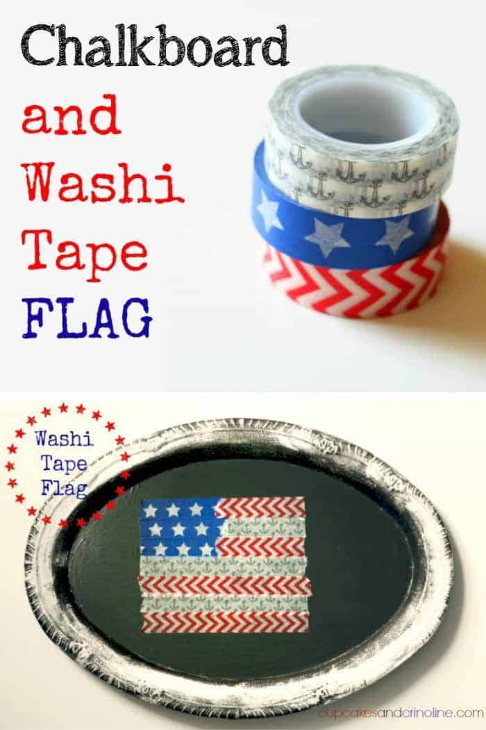 4-minutes from Start to Finish Washi Tape flag on a chalkboard background from cupcakesandcrinoline.com