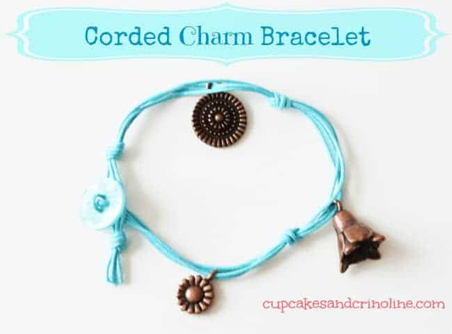 DIY Button and Cord Bracelet with Charms
