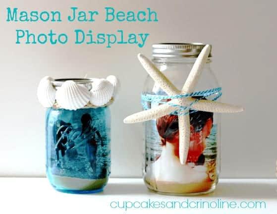 Mason jar with sand and beach photo in a mason jar