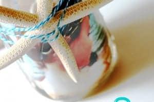 Mason Jar Beach Photo Display @cupcakesandcrinoline.com