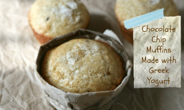 Chocolate Chip Muffins Made with Greek Yogurt