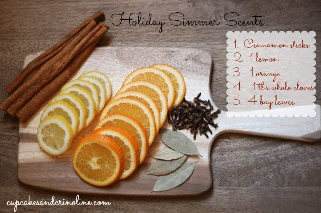 Holiday Simmer Scents at cupcakesandcrinoline.com ingredients