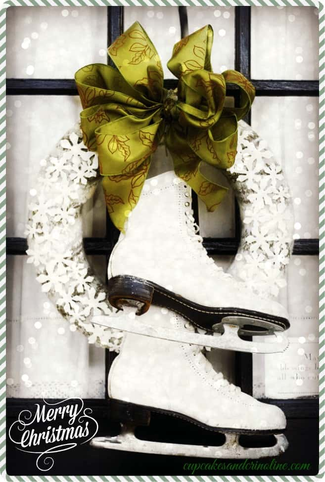 Christmas and Winter Repurposed Sweater Wreath with Vintage Ice Skates and Glitter