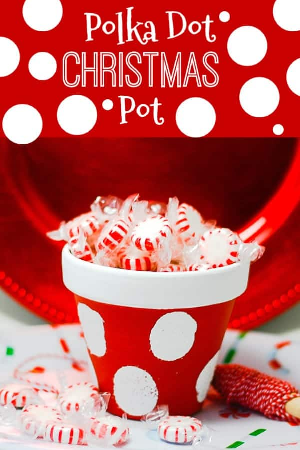 Pinterest photo of red and white polka dot clay pot