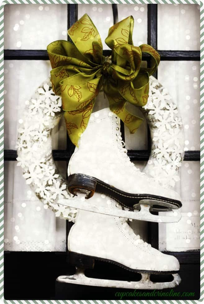 Thrift Store Sweater Wreath with Vintage White Ice Skates