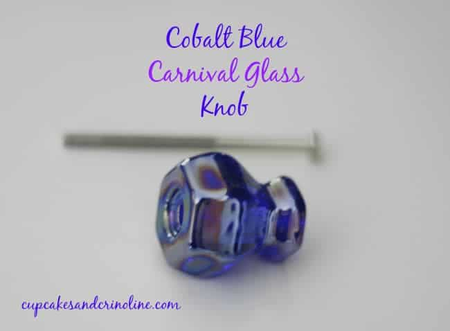 Cobalt Blue Carnival Glass Knob from D. Lawless Hardware