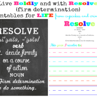 RESOLVE to LIVE with Firm Determination Printables from Cupcakes and Crinoline